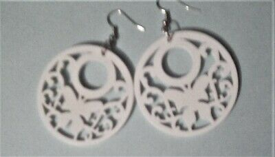 1 Pair White  Large Wooden Statement Earrings  1.7  Inch Diameter Circles