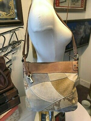 Fossil handbag suede & leather shades of brown & gray reptile textures crossbody