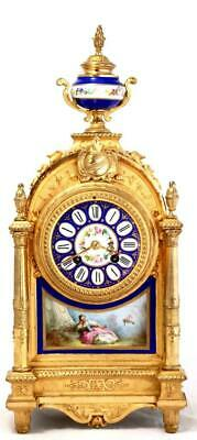 Antique Mantle Clock Beautiful French Gilt Metal & Sevres Bell Striking C1880