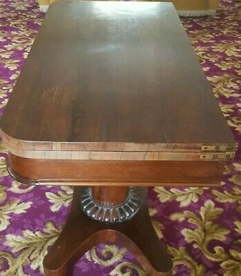 Genuine Antique Mahogany Card Bridge Game Table with Carved Pedestal & Ball Feet