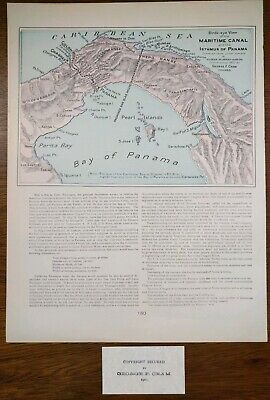 "PANAMA CANAL 1902 (dated) Vintage Atlas Map 14""x11"" ~ Old Antique COLON CHAGRES"