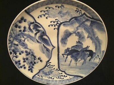 """antique Japanese Meiji period blue & white painted charger 16.25"""" imari signed"""