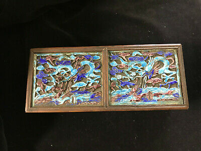 Antique Chinese box with cloisonne inset on top