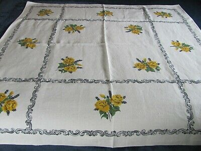 Vintage Floral Print Tablecloth - Linen w yellow Roses & Scrolly Borders