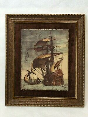 "Vintage Artini Engraving Galleon Ships in 3D Handpainted, Framed, 11 1/2"" x 21"""