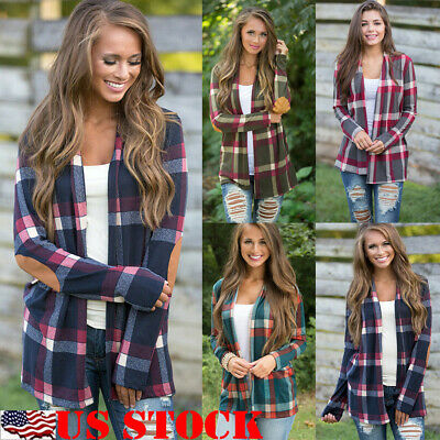 Womens Autumn Flannel Plaid Long Sleeve Shirts Casual Loose Cardigan Blouse Coat