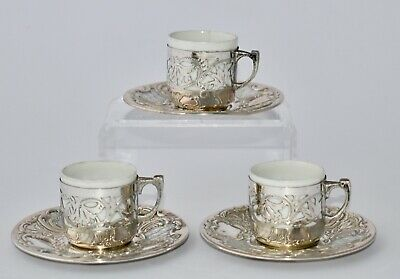 3x 1925/6 Egyptian 800 Silver Cased Coffee Cups & Saucer