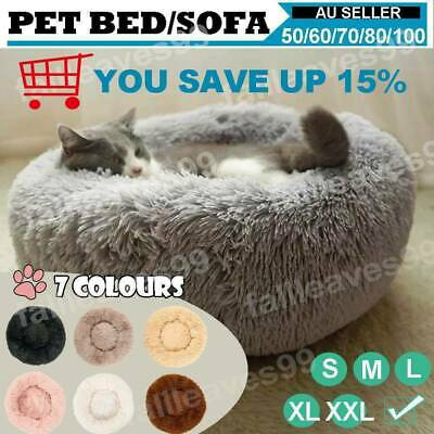 Pet Dog Cat Calming Bed Round Nest Warm Soft Plush Comfortable Deep Sleeping Mat