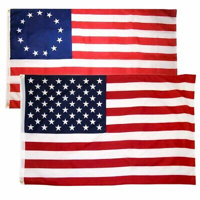 """3x5 Feet 36x60 Inch American Flag & Betsy Ross """"The First"""" Nation Flag + Grommet"""