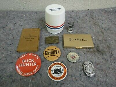 Lot of Miscellaneous Advertising Items-Pins, Badge, Figure Case  + More