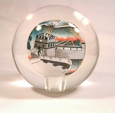 Signed Reverse Painted Chinese Glass Ball Globe ~ Great Wall & Tree