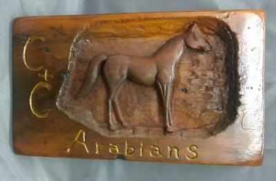 American Carved Wood Wooden Folk Art Arabian Horse Carving Art Plaque Signed A