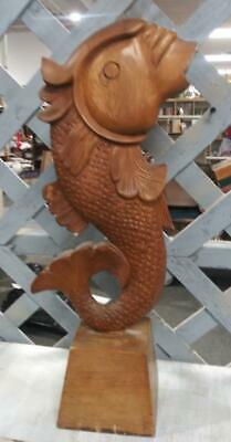 Vintage Wood Fish Art Sculpture MCM Mid Century Modern Wooden Carving Statue