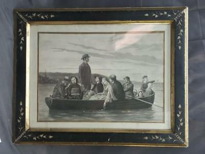 American Antique Ebonised Gold Gilt Aesthetic Movement Picture Frame Engraving