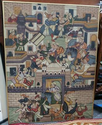 Old Oil Painting Art Signed Persian India Middle Eastern Battle Men Horse Swords