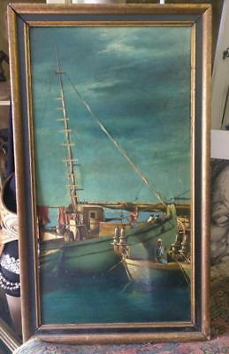 Antique Old Nautical Ship Boats Oil Painting Salmagundi Art Club New York Signed