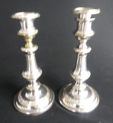 Antique Pair Set of Two 2 Silverplate Silver Plate Plated Candlesticks Old