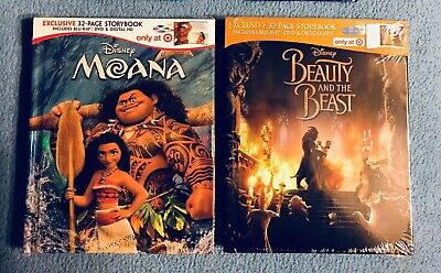 NEW Disney Moana + Beauty & The Beast Blu-ray/DVD/DHD Target Excl. Storybook LOT