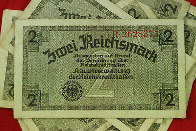 2 Reichsmark Nazi Germany Currency German Banknote Note Money Bill Swastika Ww2