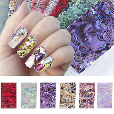3D Gradient Marble Shell Pattern Nail Art Foil Transfer Decal Wrap Stickers