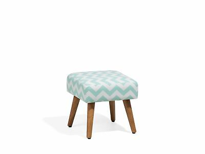 Modern Upholstered Footstool Wooden Legs Footrest Mint Green White Pattern Osage