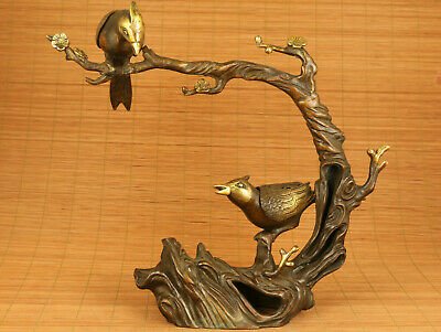 Big Fine bronze hand casting tree bird statue netsuke table decoration gift