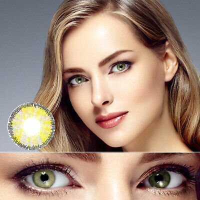 1 Pair Unisex Lenses Brown Hazel Green Blue Gray Coloured Contact Lens De  Moda