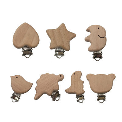 Kawaii Wooden Pacifier Clip Natural Beech Wood Baby Pacifier Clips Dummy Clips