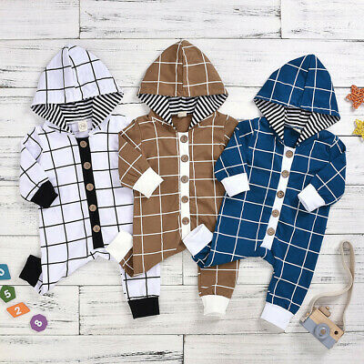 Baby Boys Long Sleeve Jumpsuit Plaid Hooded Romper Casual Splice Gentle Outfits