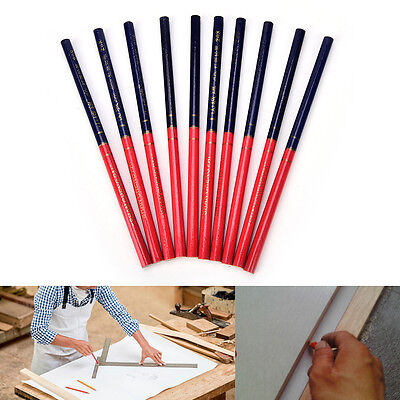 10X Hb Double Colors Carpenters Pencils For Diy Builders Joiners Woodworking ~GN