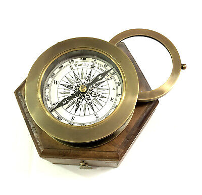 "Antique Maritime Brass Compass 3"" with Sliding Magnifier Lens in Hardwood Box"