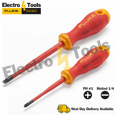 Fluke Insulated Screwdriver Professional Electrician Tool Phillips Slotted VDE