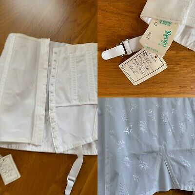 Vintage Crown Rengo 612  white Open Bottom Girdle 4 suspender garters Size 32