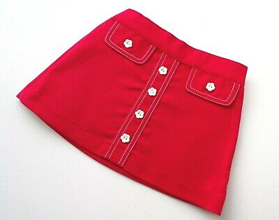 Cuckoo Girls Skirt Red  A-Line Daisy Button Age 2 1960/70's Vintage