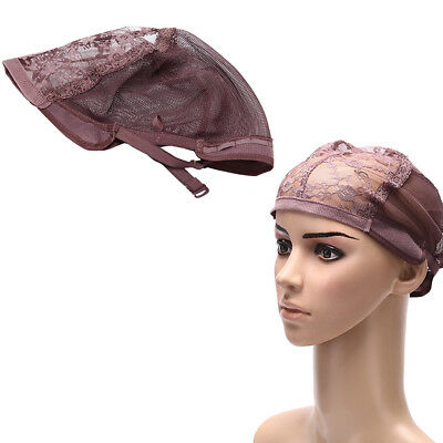 Weaving wig cap adjustable straps for making wigs lace mesh net brown ~GN