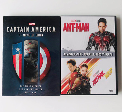 2 Marvel Lot ANT-MAN 1 2 Movie Collection Captain America 3-Movie Collection DVD