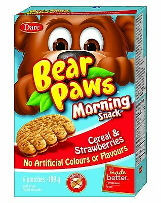 Dare Bear Paws Morning Snack Cereal & Strawberry Cookies, 189g/6.7oz.,{Canadian}