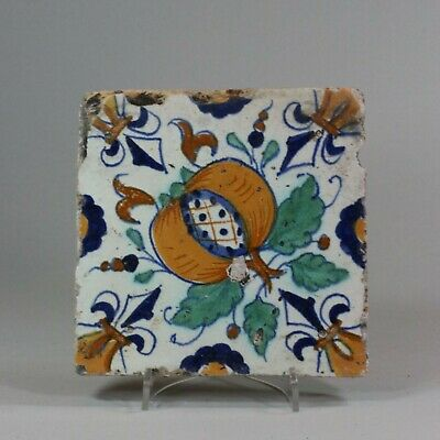 Antique Dutch Delft polychrome tile, circa 1600-1630