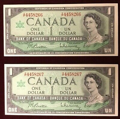EXPO 67 CANADA One Dollar UNCIRCULATED BANKNOTES Consecutive Number 1967 BOC