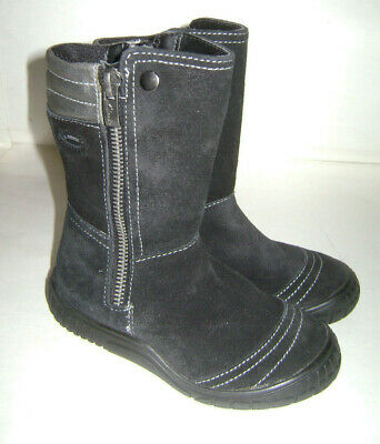 CLARKS GORE TEX BLACK SUEDE GIRL SHOES TALL BOOTS BOOTIES size 8.5 M LEATHER