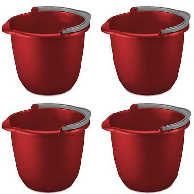 Sterilite Pail With Spout And Handle 10 Quart Red Plastic 1120 Fits Mop, 4-Pack