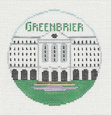 GREENBRIER RESORT, WEST VIRGINIA handpainted Needlepoint Canvas K. Schenkel RD.