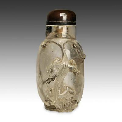 Antique Chinese Snuff Bottle Carved Glass Auspicious Qing Dynasty China 19Th C