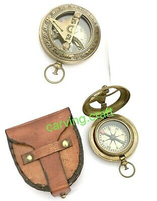 Nautical Brass Sundial Compass - Push Button Open -  Pocket Style w Leather BOX