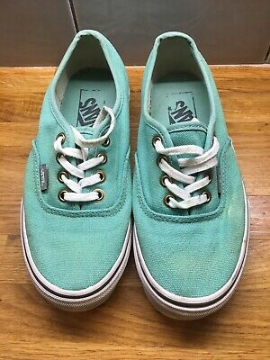 Vans Off The Wall Size UK 3 Trainers Mint Green Unisex Girls Boys Lace Up