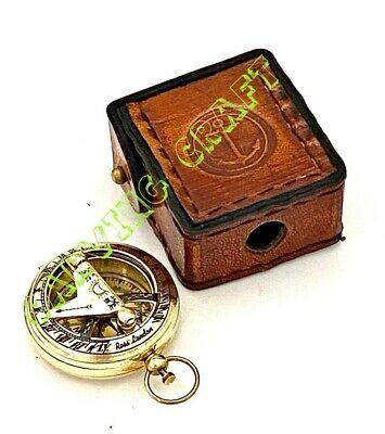 Brass Sundial Compass - Push Button Pocket Compass Nautical Gift - w Leather BOX