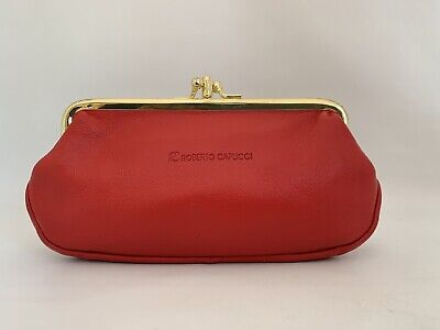 Roberto Capucci Red Leather Double Sided Coin Purse Kiss Clasp Synthetic Lining