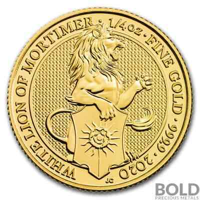 2020 Gold Great Britain Queen's Beasts (The White Lion) - 1/4 oz