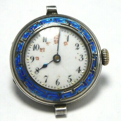 Enamel Pocket Watch 800 Silver Military Time Antique Ladies Pocketwatch
