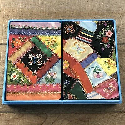 Vintage Hallmark Patchwork Quilt Plastic Coated Playing Cards 2 54 Card Decks